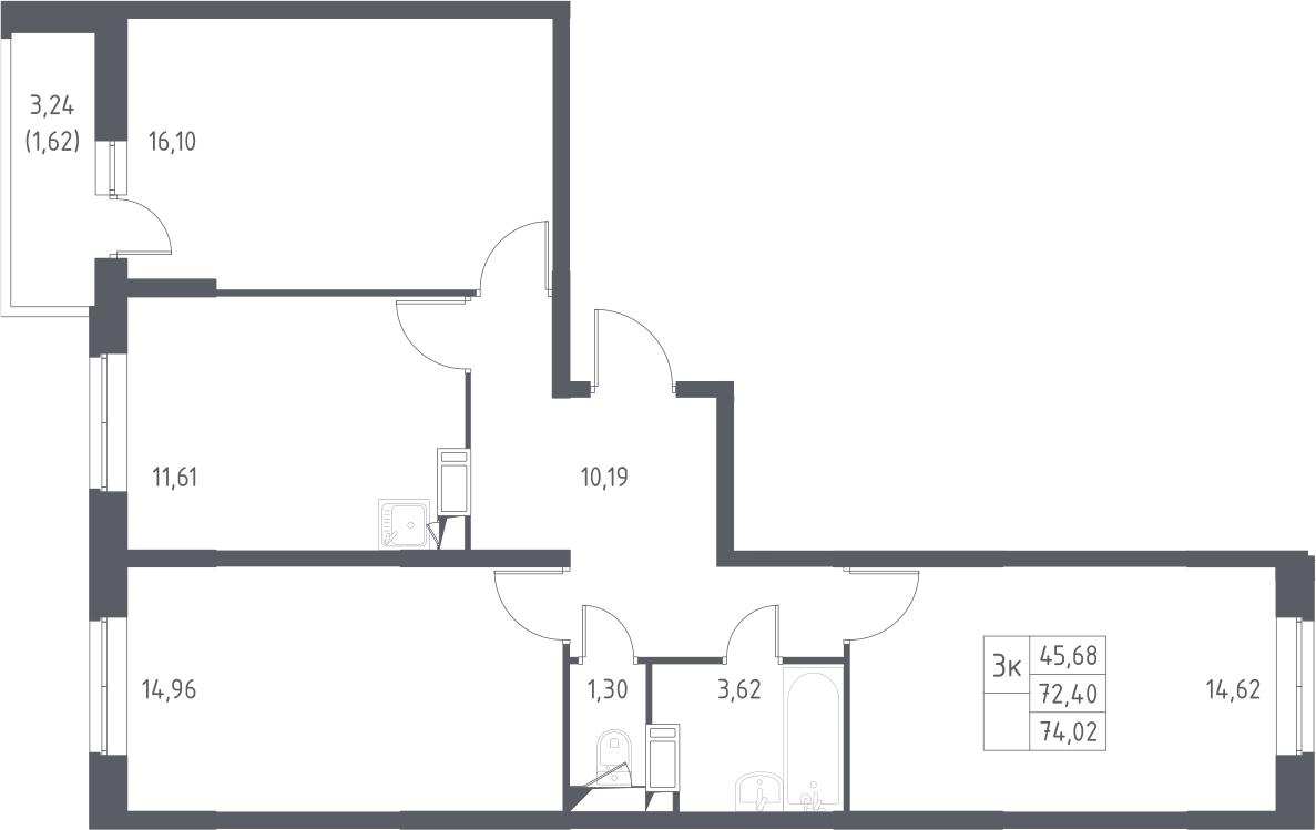 3-к.кв, 75.64 м²