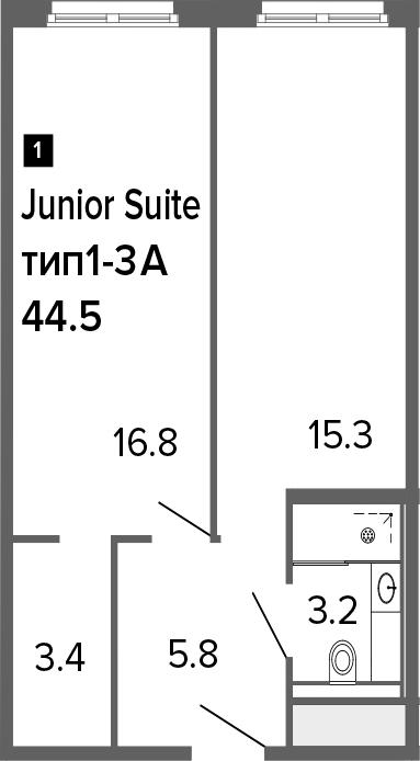 2-к.кв (евро), 44.5 м²