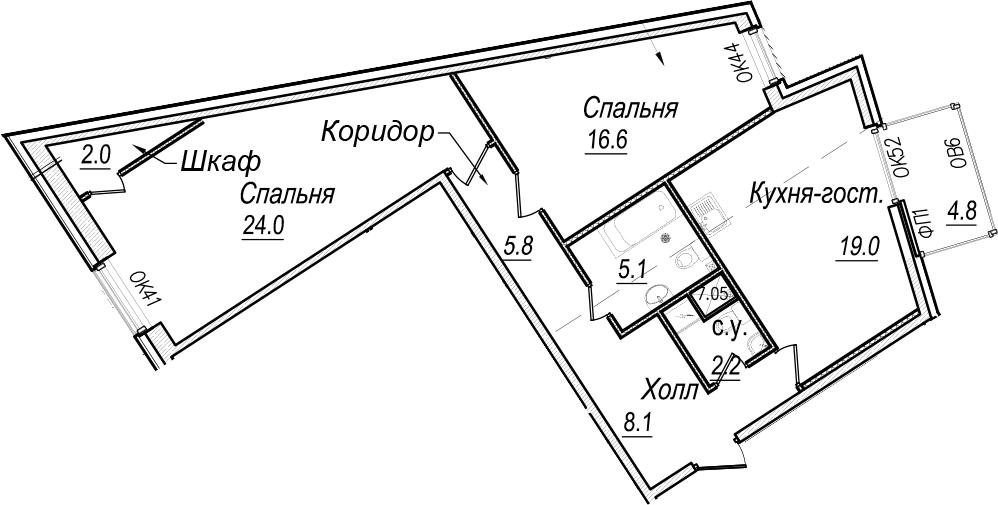 3-к.кв (евро), 88.97 м²