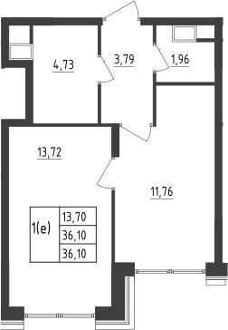 2-к.кв (евро), 36.6 м²