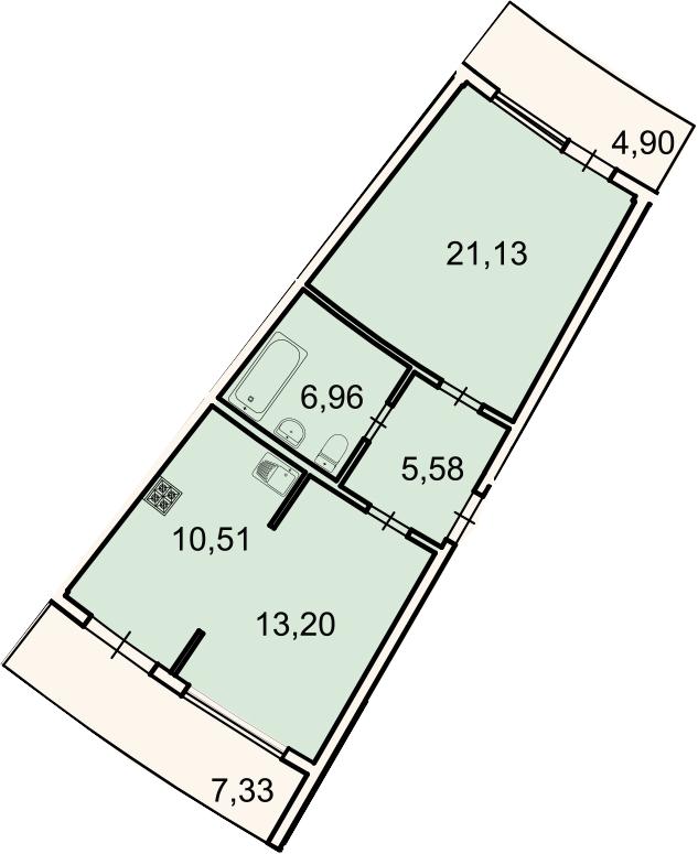 2-к.кв, 61 м², 2 этаж