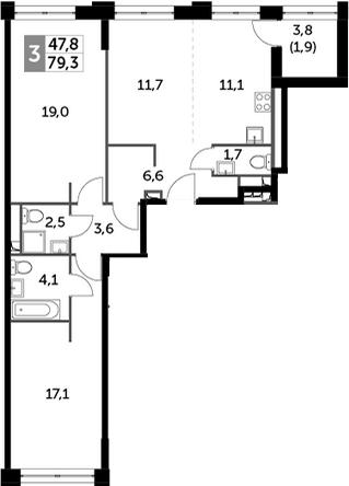3Е-к.кв, 79.3 м², 20 этаж