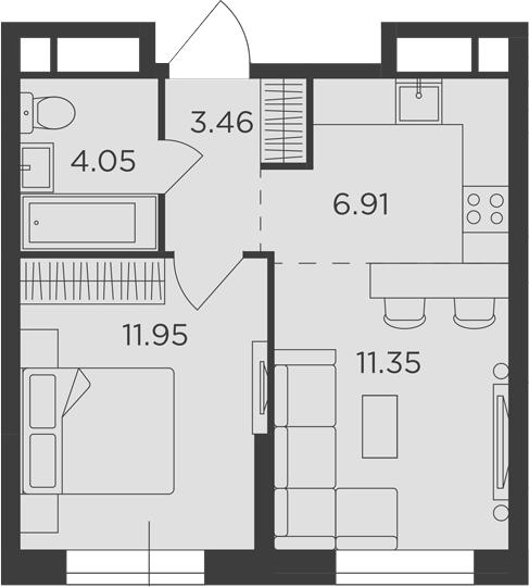 2Е-комнатная квартира, 37.72 м², 10 этаж – Планировка