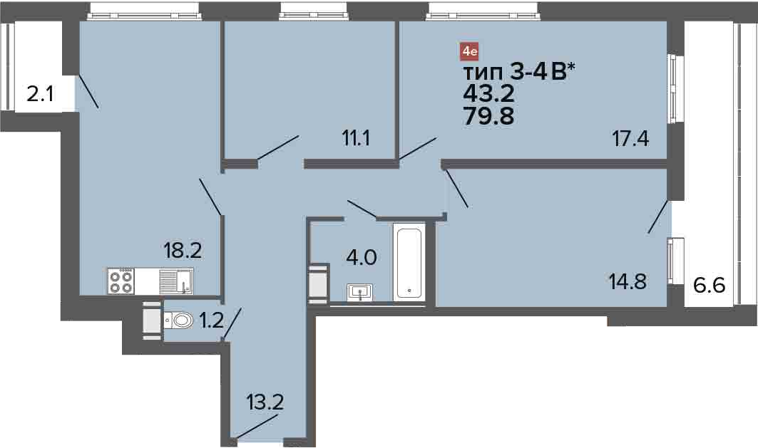 4Е-к.кв, 79.8 м², 24 этаж