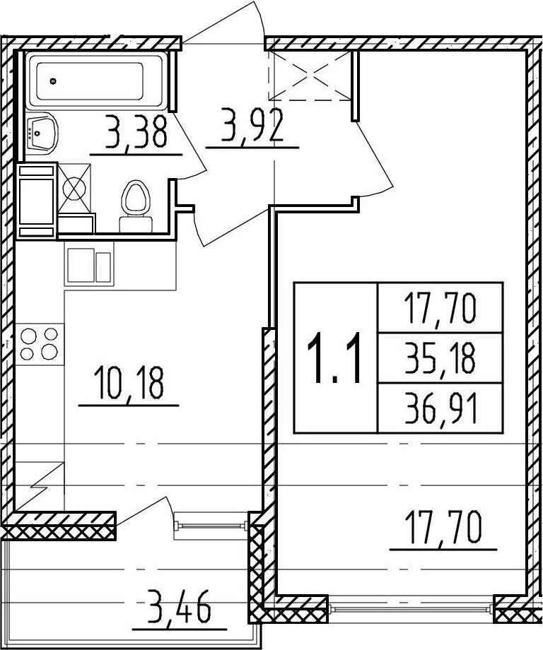 1-комнатная, 35.18 м²– 2