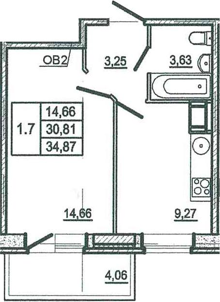 1-к.кв, 34.87 м²