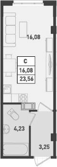 Студия, 23.56 м², от 4 этажа