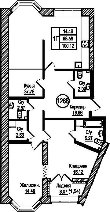 1-комнатная, 100.12 м²– 2