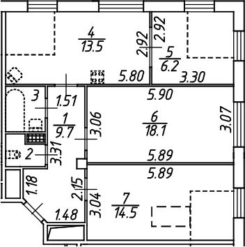 3-комнатная, 66.7 м²– 2