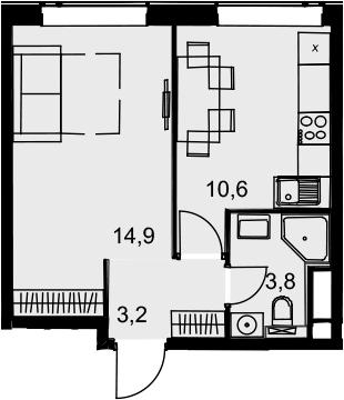 1-комнатная, 32.5 м²– 2
