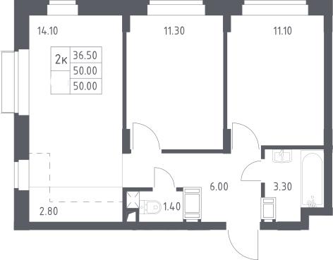 3Е-к.кв, 50 м², 8 этаж