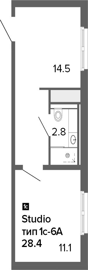 1-к.кв, 28.4 м²