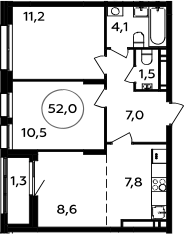 3Е-комнатная, 52 м²– 2