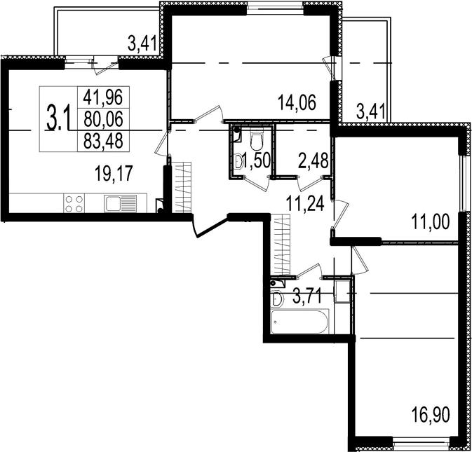 4-к.кв (евро), 86.88 м²