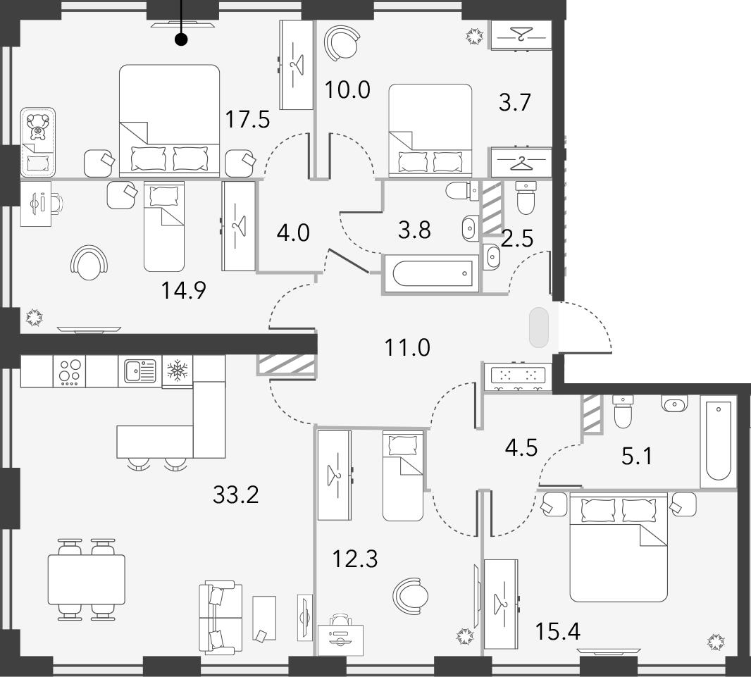 5-комнатная, 137.9 м²– 2