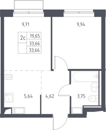 2Е-к.кв, 33.66 м², 10 этаж