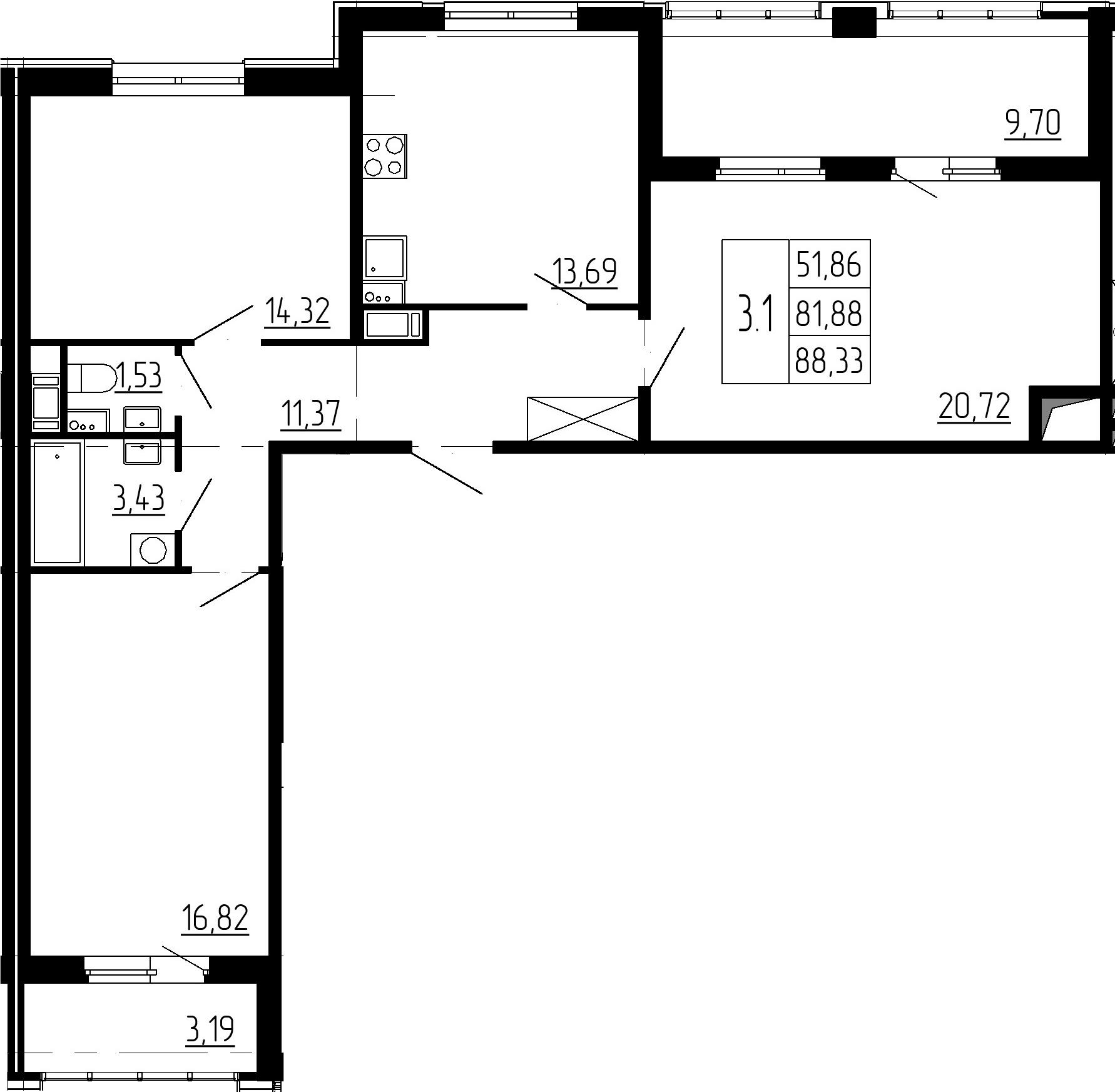 3-к.кв, 81.88 м²