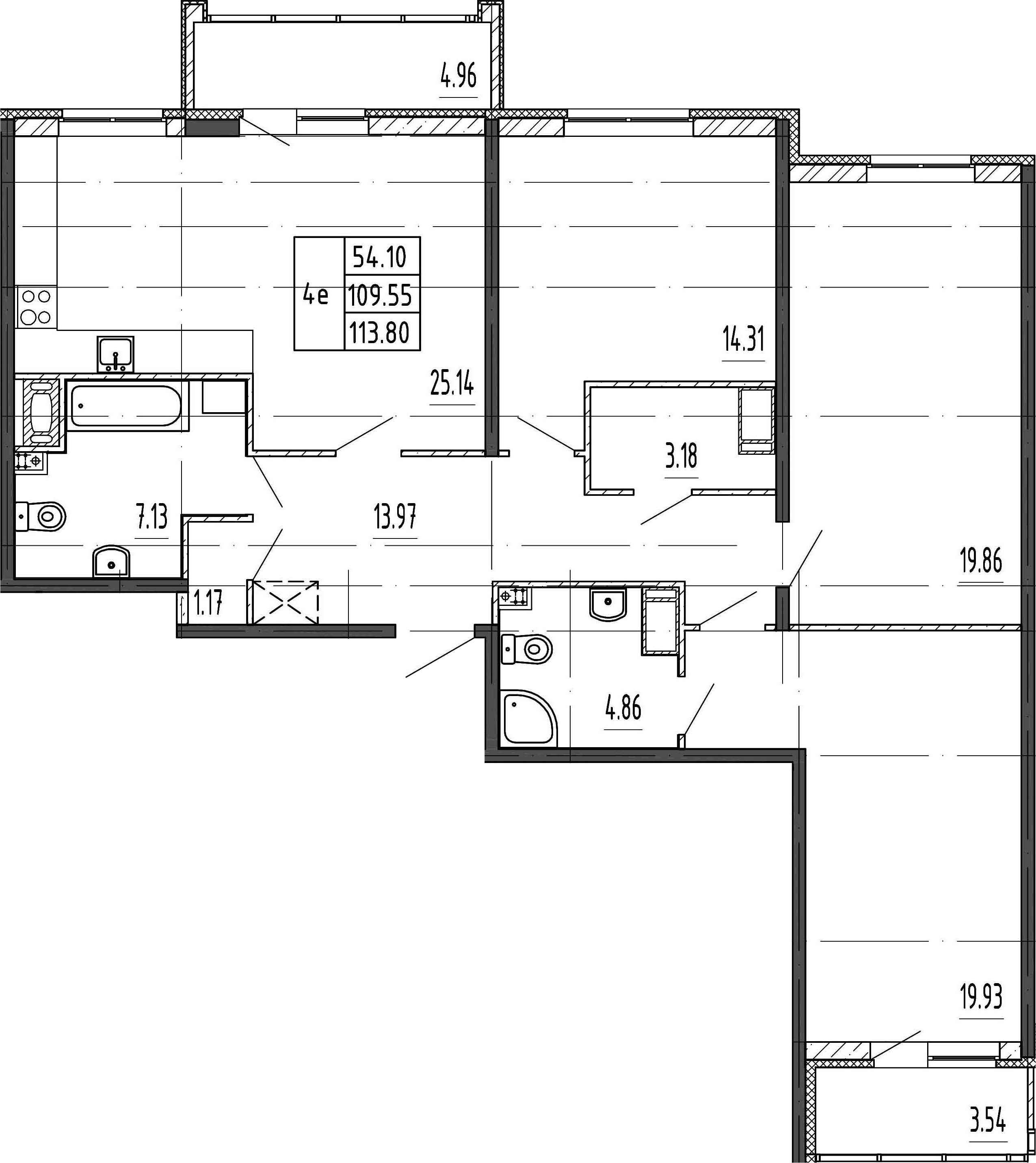 4Е-комнатная, 109.55 м²– 2