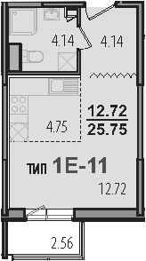 Студия, 28.31 м²