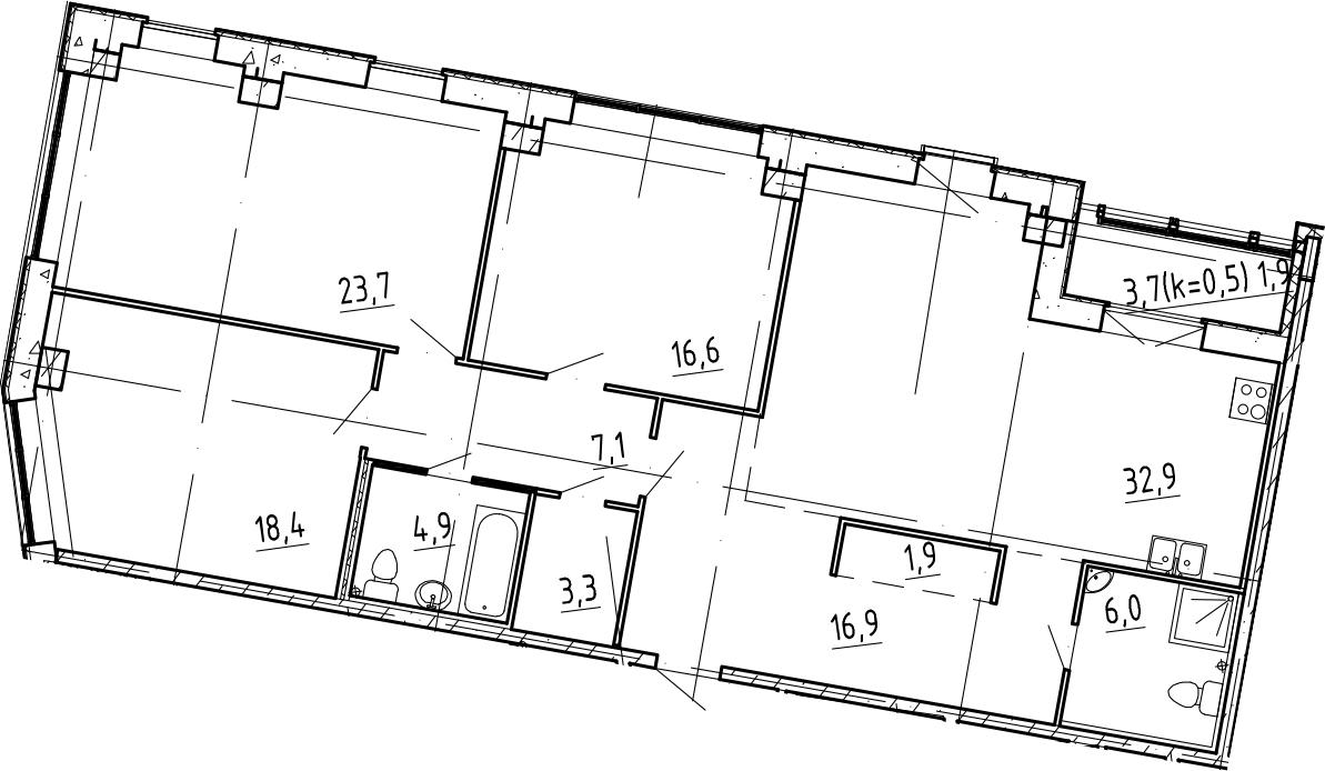 4Е-комнатная, 133.6 м²– 2
