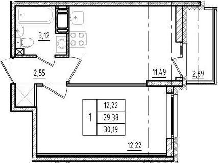 1-комнатная, 29.38 м²– 2
