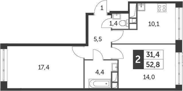 2-комнатная, 52.8 м²– 2