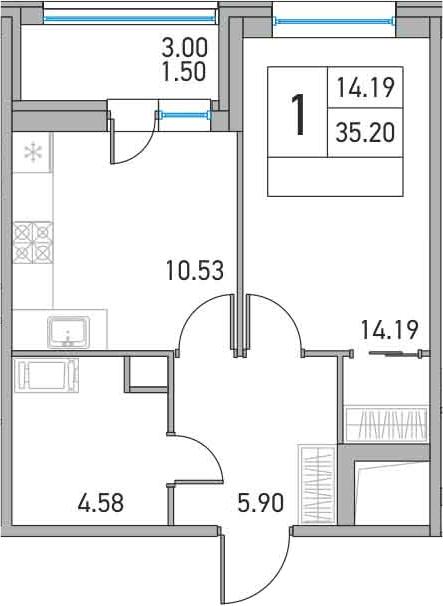 1-комнатная, 35.2 м²– 2