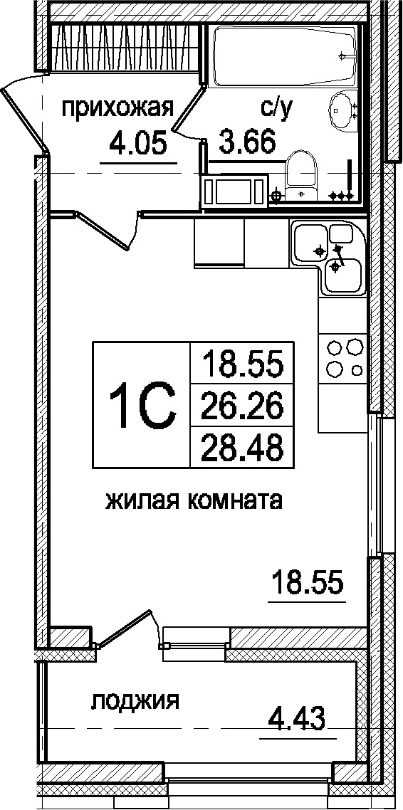 Студия, 28.48 м²– 2