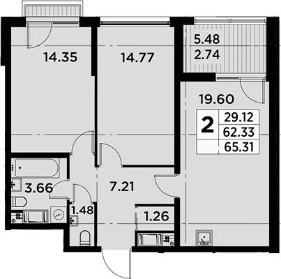 3Е-комнатная, 65.31 м²– 2