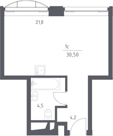 Студия, 30.5 м²– 2