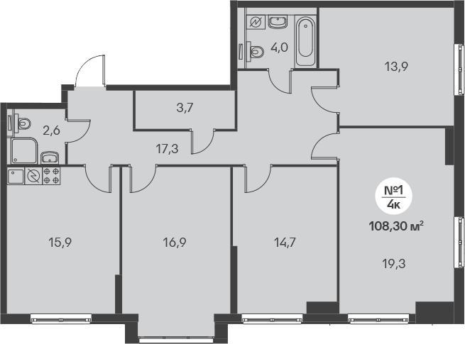 5-к.кв (евро), 108.3 м²