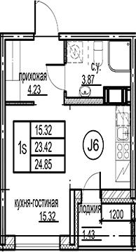Студия, 24.85 м²– 2