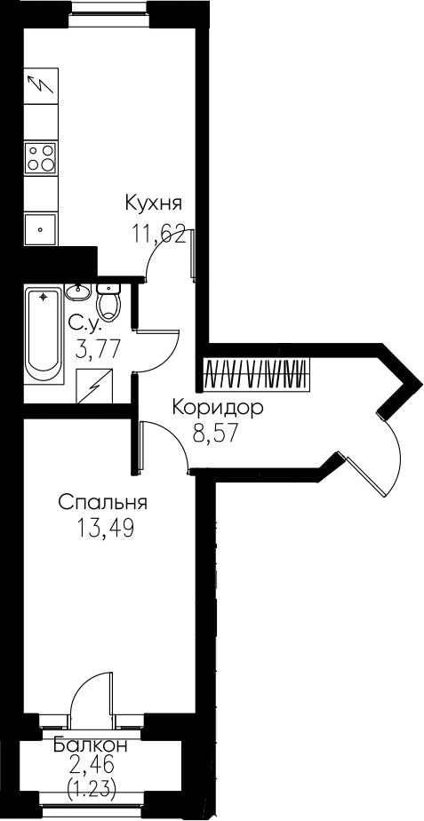 1-комнатная, 38.68 м²– 2