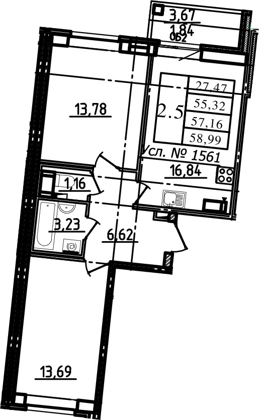 3Е-к.кв, 55.32 м²
