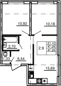 3Е-комнатная, 47.26 м²– 2
