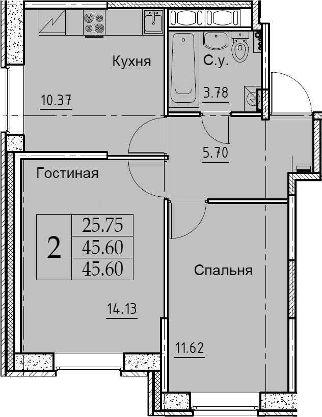 2-к.кв, 45.6 м²