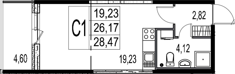 Студия, 30.77 м²