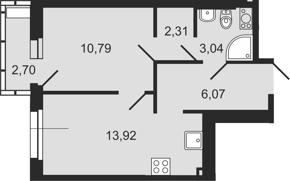 1-комнатная, 36.94 м²– 2