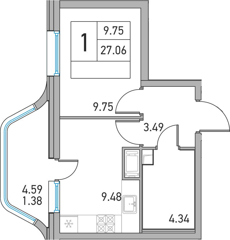 1-к.кв, 31.65 м²