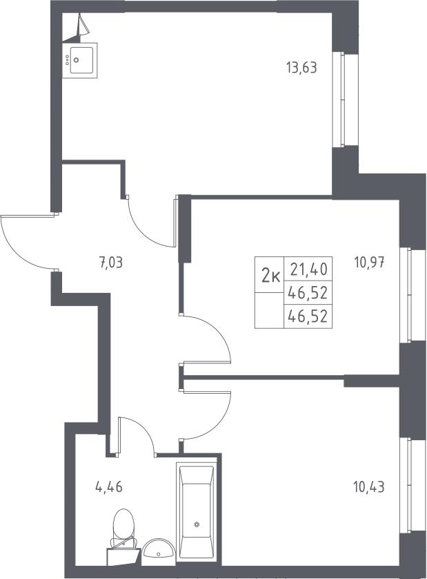 2-к.кв, 46.52 м²