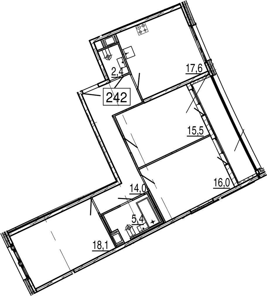 4Е-к.кв, 92.7 м², 11 этаж