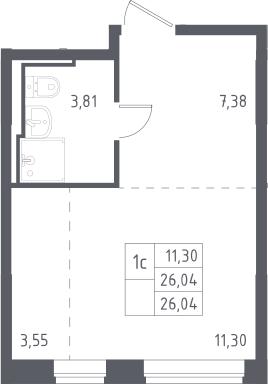 Студия, 26.04 м², 11 этаж