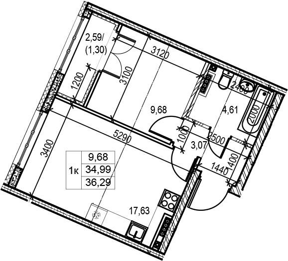 2Е-к.кв, 36.29 м²