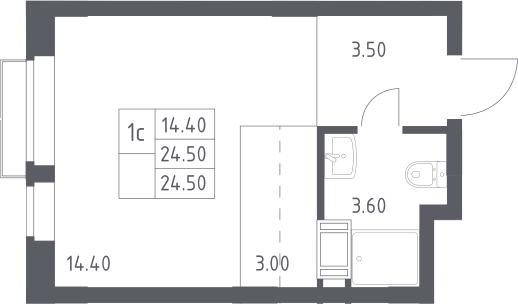 Студия, 24.5 м², 11 этаж