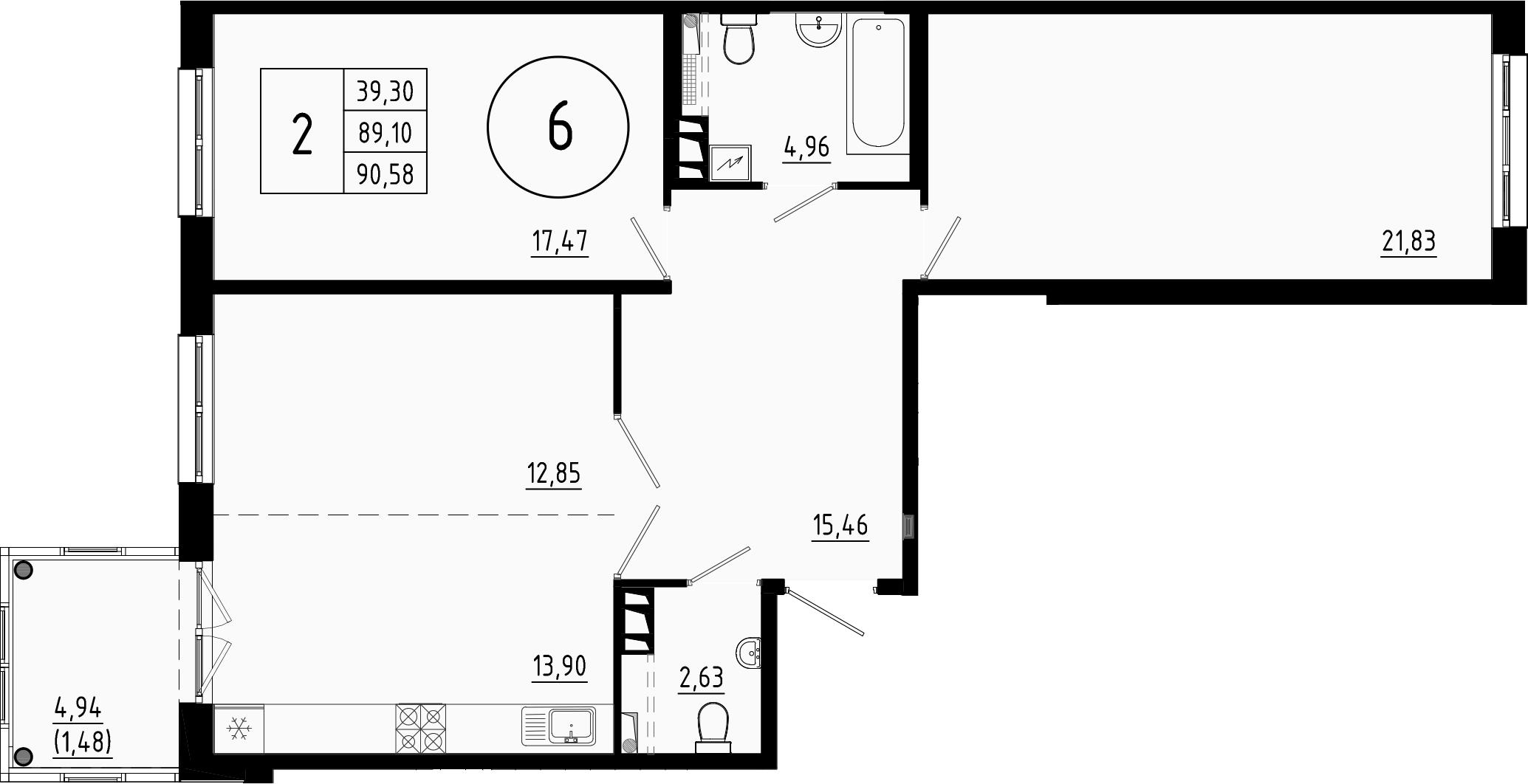 3Е-комнатная, 89.1 м²– 2