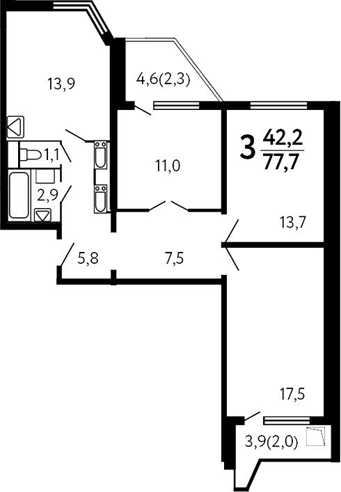 3-комнатная, 77.7 м²– 2