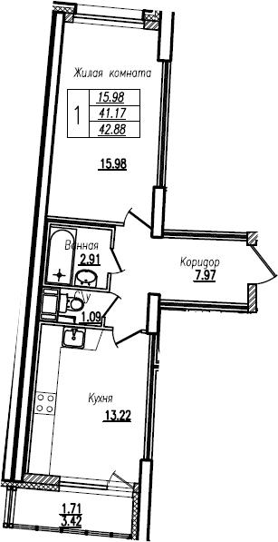 1-комнатная, 42.88 м²– 2