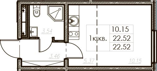Студия, 22.52 м²– 2