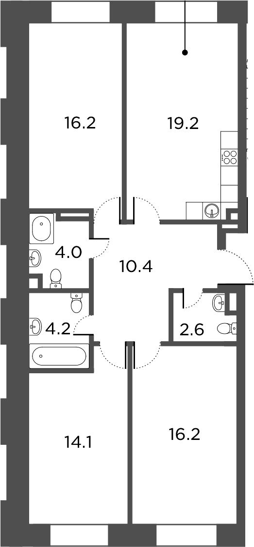 4Е-комнатная, 86.9 м²– 2