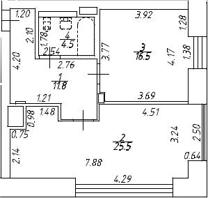 2Е-к.кв, 58.3 м², 8 этаж
